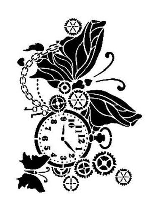 Picture of Pocket watch butterfly - Cadence Mask Stencil