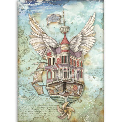 Stamperia Rice Paper A4 Lady Vagabond Flying Ship