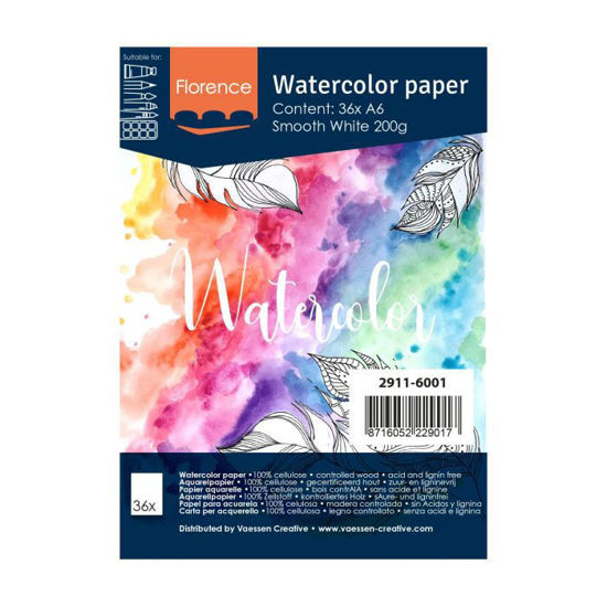 Florence • Aquarelpapier A6 smooth White 200gr 36vellen