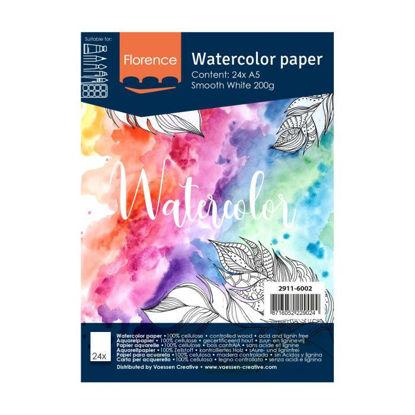Florence • Aquarelpapier A5 smooth White 200gr 24vellen