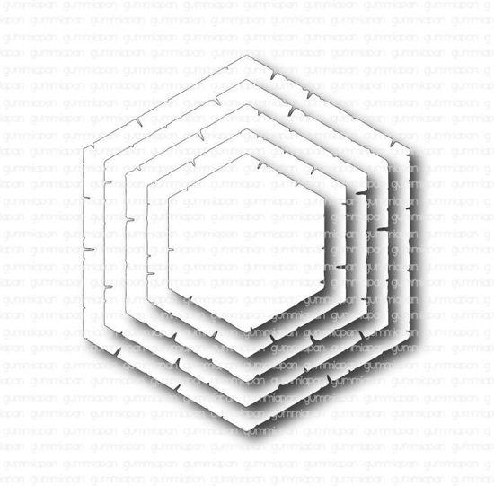 Afbeeldingen van Oude zeshoek - stans - Gummiapan