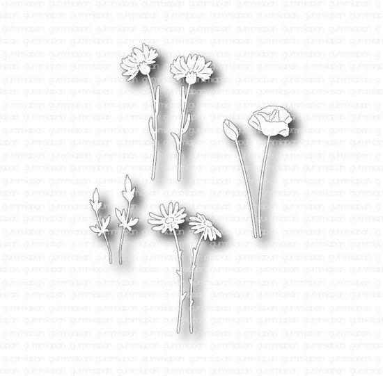 Afbeeldingen van Kleine midzomerbloemen - stans - Gummiapan