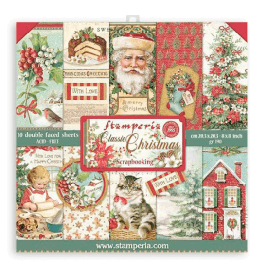 Stamperia Classic Christmas 8x8 Inch Paper Pack