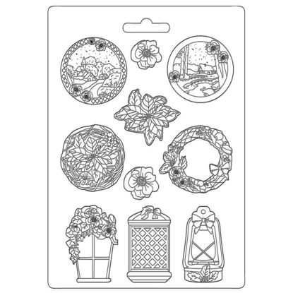 Stamperia Soft Mould A4 Winter Tales Garland