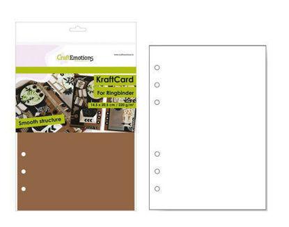 CraftEmotions karton kraft Ringband bruin 12 vel 14,5x20,5cm - 220 gr - 6 Ring A5